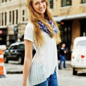 American Eagle Happy Hour T-Shirt Gold Pleated Tan